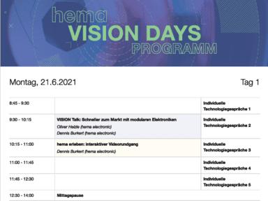 hema VISION DAYS - Programm Screenshot