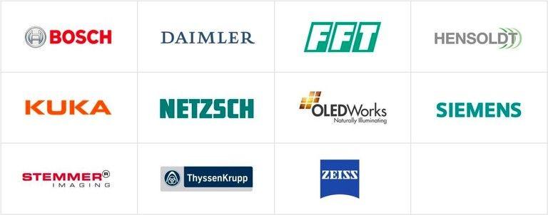 Zufriedene Kunden von hema electronic: Bosch Daimler FFT Hensoldt Kuka Netzsch OLEDWorks Siemens Stemmer Imaging ThyssenKrupp Zeiss