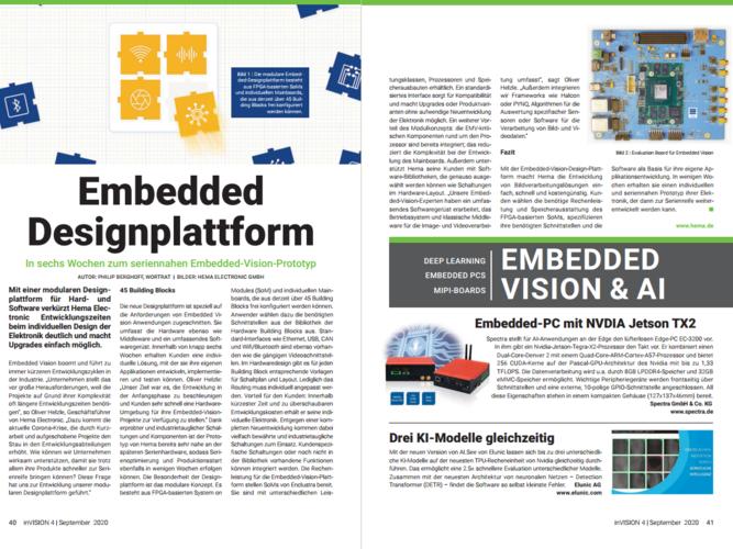 """Foto Fachartikel """"In sechs Wochen zum seriennahen Embedded Vision Protoyp"""" im inVISION Magazin"""
