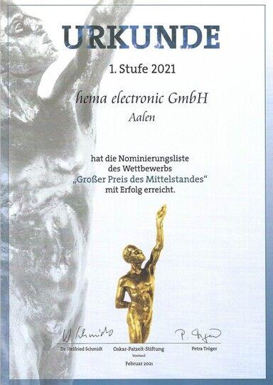 Foto Nominierungs-Urkunde Mittelstandspreis