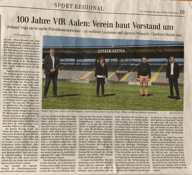 Zeitungsartikel in der Ipf und Jagst Zeitung: Charlotte Helzle im Vorstand des VFR Aalen