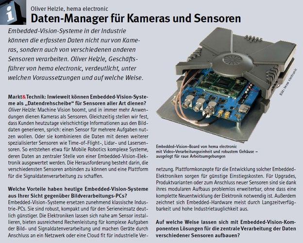 Foto Interview in Markt&Technik 6/2021: Embedded-Vision-Systeme von hema electronic GmbH als Daten-Manager für Kameras und Sensoren