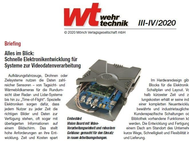 """Foto Fachartikel """"Schnelle Elektronikentwicklung für Systeme zur Videodatenverarbeitung"""" in der WT Wehrtechnik 3/4 2020"""